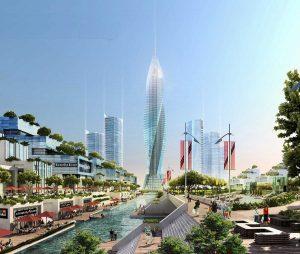 Tòa tháp trung tâm tại khu đô thị VinHome Hóc Môn
